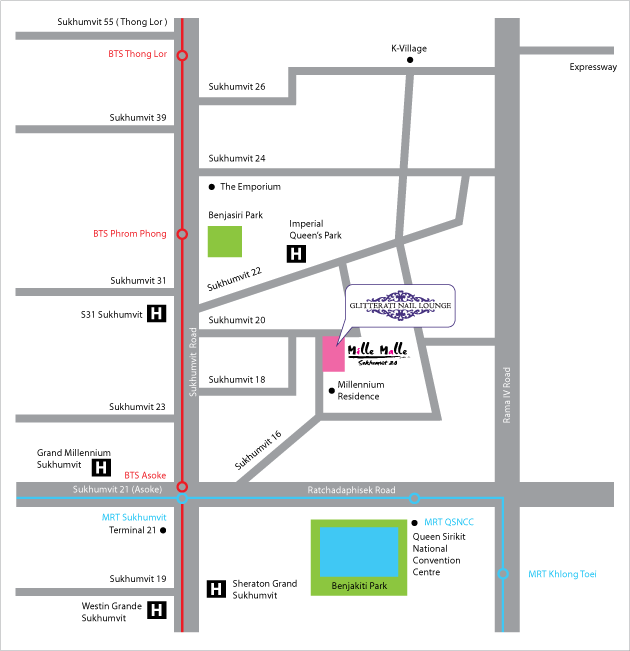 Glitterati Nail Lounge Location Map